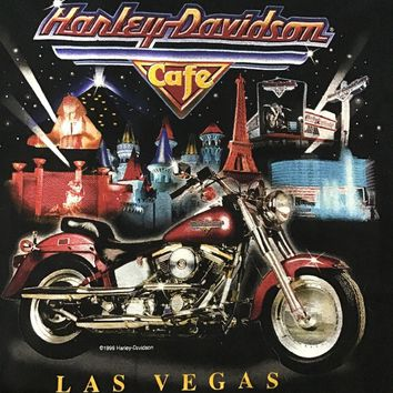 Harley Davidson Cafe Las Vegas Vintage Shirt 2XL Made In USA Size XXL.