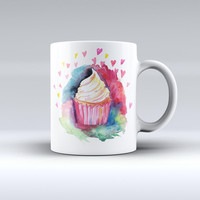 The Love, Cupcakes and Watercolor ink-Fuzed Ceramic Coffee Mug