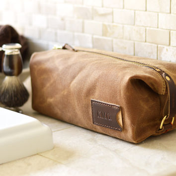 NO. 345 Personalized Dopp Kit with Leather Tag, Brown Waxed Canvas