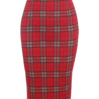 Women Classic Red Plaid High Waist Midi Pencil Skirt With Back Split 2015 Spring Hot Sale In Stock Bodycon Knee Length Clothing