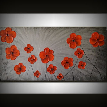 Original Fine Art 36x18 Texture Red Flowers Painting, Silver Black Abstract Landscape, Ready to hang, Unique  Modern Home decor, Spring Gift