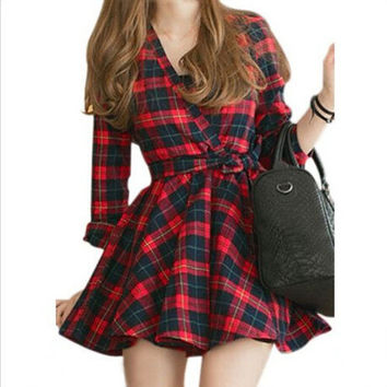 Korean V-neck Plaid Shaped One Piece Dress [6339008961]