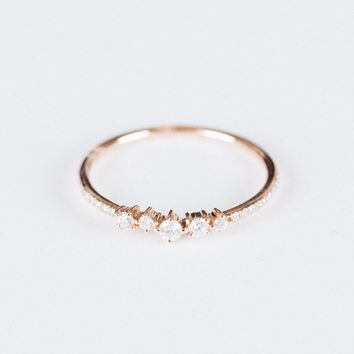 Mixed Shape Diamond Ring Rose Gold