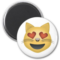 Smiling Cat Face With Heart Shaped Eyes Emoji Magnet