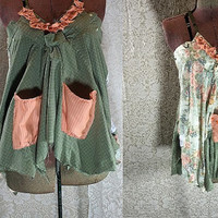 Large -X Large  2 In 1 Summer Top / Turnaround Top / Upcycled Recycled Repurposed  Clothing / OOAK Floral / Green Top Tattered FX