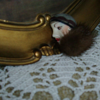 Flapper/ Roaring 20's Brooch with a Mink Collar