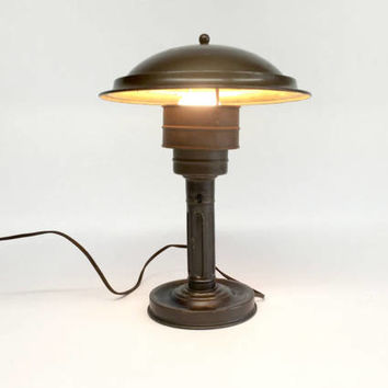 Mid Century Desk Lamp, Industrial Desk Lamp, Space Age Lamp, Atomic Age Lamp, Saucer Desk Lamp, Mid Century Modern, Vintage Atomic Lamp