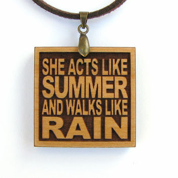 TRAIN - She Acts Like Summer And Walks Like Rain - Wood Lyric Necklace