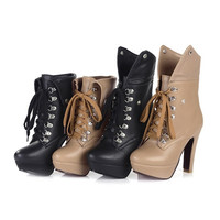 2015 Fashion Martin Boots For Women Ankle Boots High Heels Lace Up Platform Pumps Boots,Women'S Shoes = 1946857604