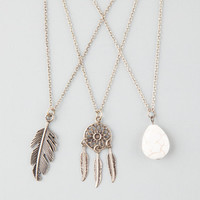 Full Tilt 3 Piece Dreamcatcher/Stone/Feather Necklaces Gold One Size For Women 25577762101