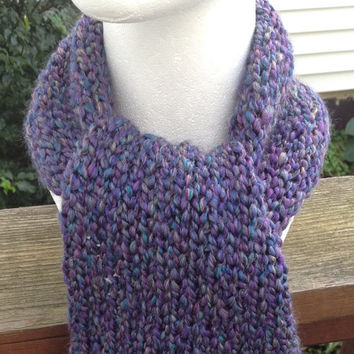 Purple Blue and Yellow Tweed Knitted Winter Scarf