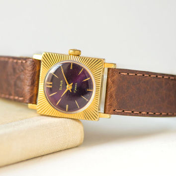 Rays pattern lady's watch Slava\Glory – gold plated womens watch - square lady watch water protected – purple face watch - new leather strap