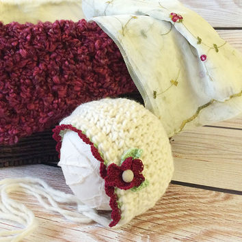 Ready to Ship Cranberry Baby Set, Red Bonnet, Baby Bonnet, Red Layer, Baby Hat, Cranberry Mini Blanket, Wrap, Photo Prop, Photography Prop