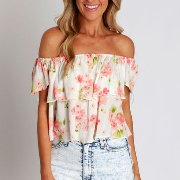 Flutters Of Floral Top Coral