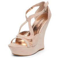 Nude suedette curved wedges - View All Shoes  - Shoes