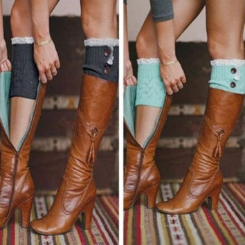Women Crochet Knit With Button Leg Warmers Lace Trim Toppers Boot Socks Cuffs = 1958306628