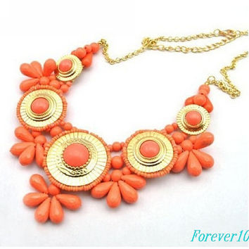 J crew Orange Floral Necklace, fashion handmade bib Necklace/glitter Statement Bubble choker,bridesmaid gifts,unique Beaded  Jewelry torque