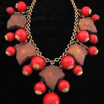 "Art Deco NECKLACE Cherry Red Bakelite Carved Wood Leaf Charm Fringe Brass Metal 18"" Vintage"