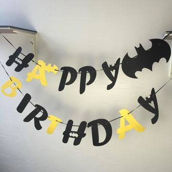 Batman Dark Knight gift Christmas Freeshipping Batman Felt Happy Birthday letter Flag Party Decoration Banner Bunting for Children kids supply fabric AT_71_6