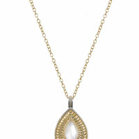 Anna Beck || Gold Plated Mother of Pearl large drop pendant