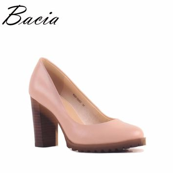 Bacia Square Heel pumps Genuine Leather Shoes For Women Luxury Quality Heels Round Toe