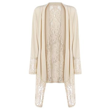 See Through Lace Open Front Long Sleeved Women Cardigan 5499
