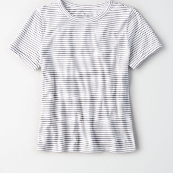 AE Easy Striped Fitted Classic Tee, Natural White