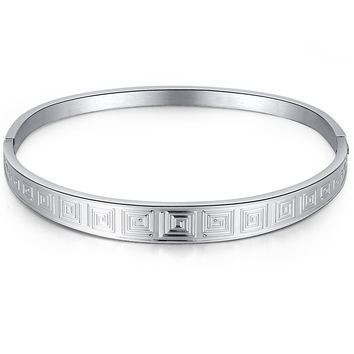 Stainless Steel Greek Maze Pattern Bangle Bracelet
