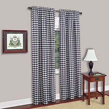Ben&Jonah Collection Buffalo Check Window Curtain Panel - 42x84 - Navy