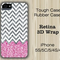 Glitter Pink Chevron iPhone 6/5S/5/5C/4S/4 Cases