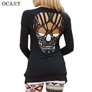 Women Sweaters Knitted Long Sleeve Cardigan with hollowed out skull