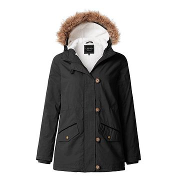 Cozy Sherpa Lined Anorak Military Parka Jacket with Detachable Hoodie