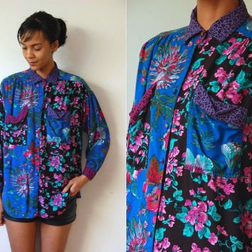 Vtg Floral Mix Print Blue Black Pink Purple Button Down LS Shirt