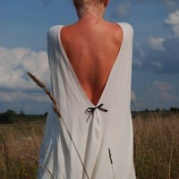 Creamy open-back cotton Milk and honey LeMuse dress with little black bow on the back