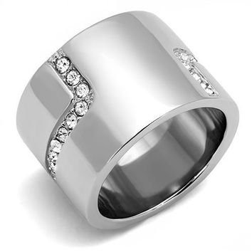 Stainless Steel and Clear Crystal Ring