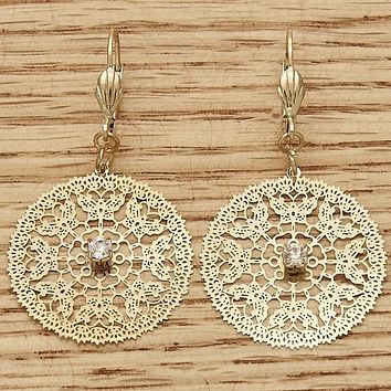 Gold Layered Women Filigree Dangle Earring, with White Crystal, by Folks Jewelry