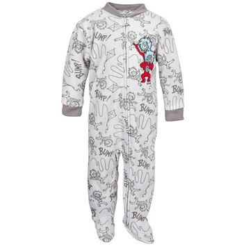 Dr. Seuss - Thing One Thing Two Grey Toddler Foot Pajamas