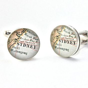 Sydney Australia Antique Map Cufflinks