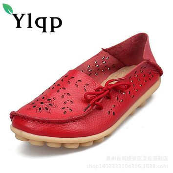 Shoes Woman 2018 Genuine Leather Women Shoes Flats 9 Colors Loafers Slip On Women's Flat Shoes Moccasins Plus Size 35-44