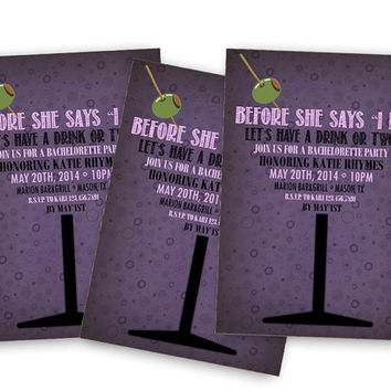 Martini Invitations - Bridal Shower Invitations - Wedding Shower - Purple Girls Night Out - Alcohol Party -  Before She Says I Do