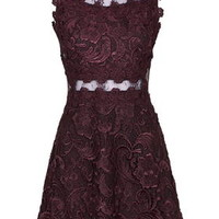 Structured Lace Skater Dress - Purple