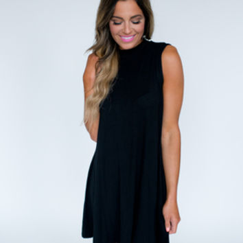 High Neck Shift Dress- Black