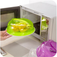 Hot Sale Green Transparent Microwave Ventilated Plate Dish Food Bowl Cookware Cover Lid Kitchen Accessories