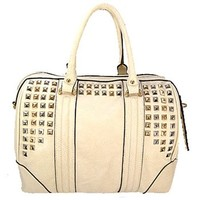 Silver & Gold Pyramid Studded Handbag Purse w/ Detachable Shoulder Strap (Bone)