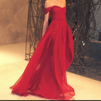 Passionate red cap cleeves sweetheart chiffon prom dress