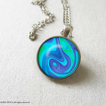 Abstract necklace-marble necklace-swirl necklace-ocean necklace-gift for him-holiday gift-abstract pendant-gift for her-NATURA PICTA-NPNK59