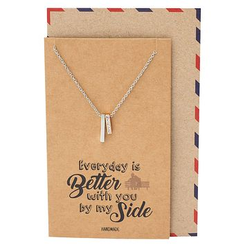 Yasmin 2 Bars Pendant Necklace Best Mother's Day Gift for Women Inspirational Greeting Card