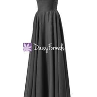 Long Black Chiffon Bridesmaid Dress Strapless Evening Gown (BM7860)
