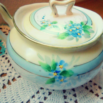 Vintage Sugar Bowl and Lid, Cream White with Blue Flowers, Nippon Hand Painted