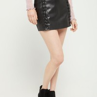 Lace Up Faux Leather Mini Skirt